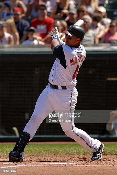 Catcher Victor Martinez of the Cleveland Indians bats during a game versus the Chicago White Sox on Sunday, September 2, 2007 at Jacobs Field in...