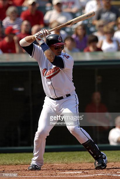 Catcher Victor Martinez of the Cleveland Indians bats during a game with the Detroit Tigers on Wednesday, September 19, 2007 at Jacobs Field in...
