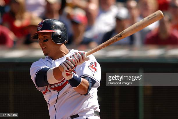 Catcher Victor Martinez of the Cleveland Indians bats during a game with the Oakland Athletics on Sunday, September 23, 2007 at Jacob's Field in...
