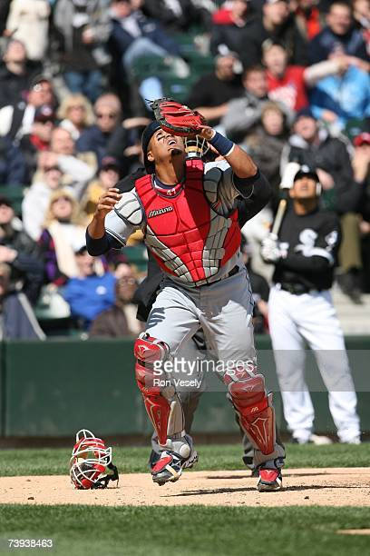 Catcher Victor Martinez of the Cleveland Indians plays a fly ball during the game against the Chicago White Sox at US Cellular Field in Chicago...