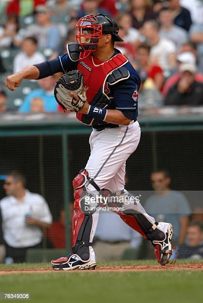 Catcher Victor Martinez of the Cleveland Indians throws during a game versus the Boston Red Sox on Tuesday, July 24, 2007 at Jacobs Field in...