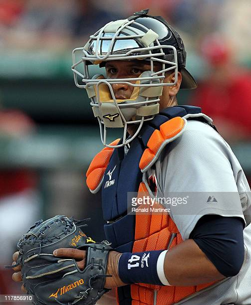 Catcher Victor Martinez of the Detroit Tigers at Rangers Ballpark in Arlington on June 8 2011 in Arlington Texas
