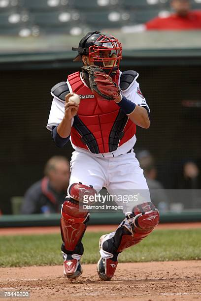 Catcher Victor Martinez sets to throw to second base during the Cleveland Indians game versus the Minnesota Twins on May 17, 2007 at Jacob's Field in...