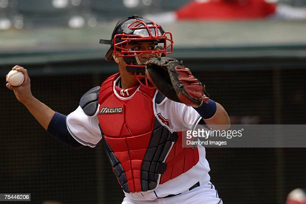 Catcher Victor Martinez throws during the Cleveland Indians game versus the Minnesota Twins on May 17, 2007 at Jacob's Field in Cleveland, Ohio....