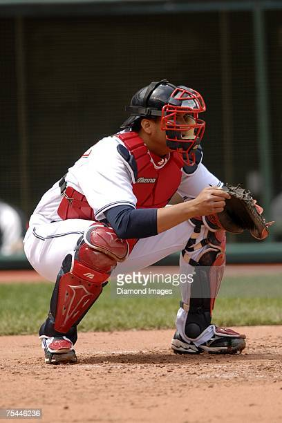 Catcher Victor Martinez waits for a pitch during the Cleveland Indians game versus the Minnesota Twins on May 17, 2007 at Jacob's Field in Cleveland,...
