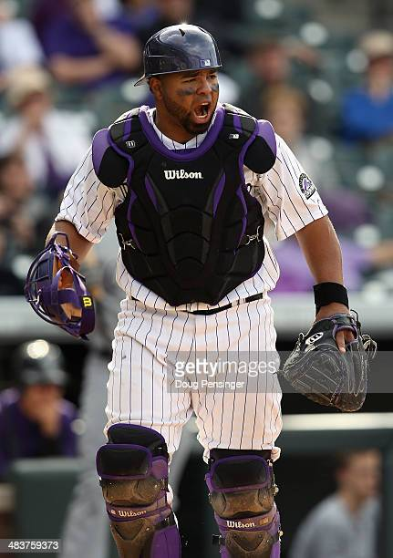 Catcher Wilin Rosario of the Colorado Rockies backs up the plate against the Chicago White Sox during Interleague play at Coors Field on April 9 2014...