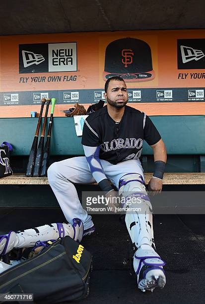 Catcher Wilin Rosario of the Colorado Rockies puts on his catchers gear prior to the start of his game against the San Francisco Giants at ATT Park...