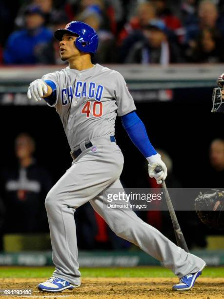 Catcher Wilson Contreras of the Chicago Cubs bats during Game 1 of the World Series against the Cleveland Indians on October 25 2016 at Progressive...