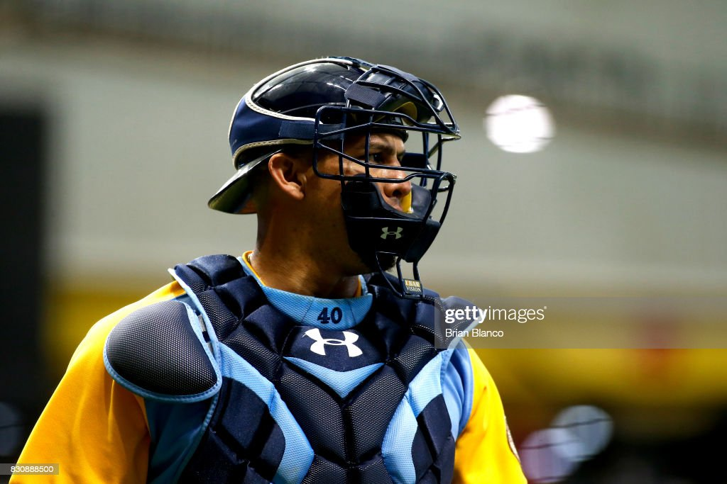 Catcher Wilson Ramos #40 of the Tampa Bay Rays makes his way to the dugout following the top of the first inning of a game against the Cleveland Indians on August 12, 2017 at Tropicana Field in St. Petersburg, Florida.
