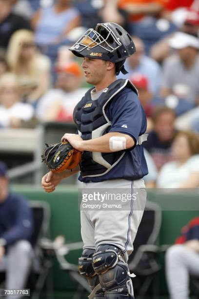 Catcher Wyatt Toregas of the Cleveland Indians looks to the field against the Philadelphia Phillies during a Spring Training game at Bright House...