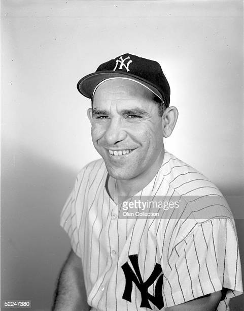 Catcher Yogi Berra of the New York Yankees poses for the camera at Yankee Stadium in New York in 1960