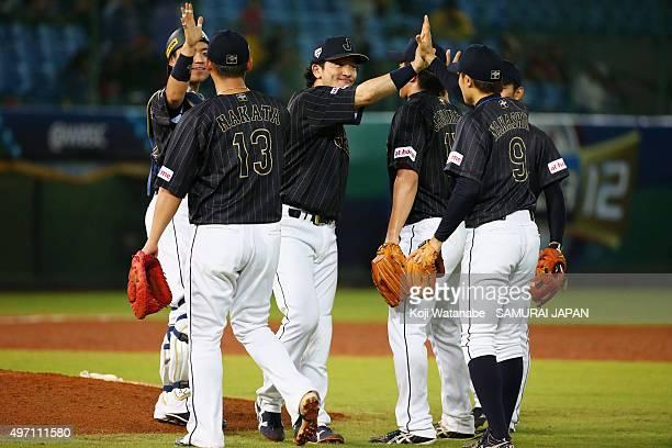 Catcher Yuhei Nakamura, infielders Sho Nakata, Nobuhiro Matsuda, pitcher Hirokazu Sawamura, infielders Takuya Nakashima and Kenta Imamiya of Japan...