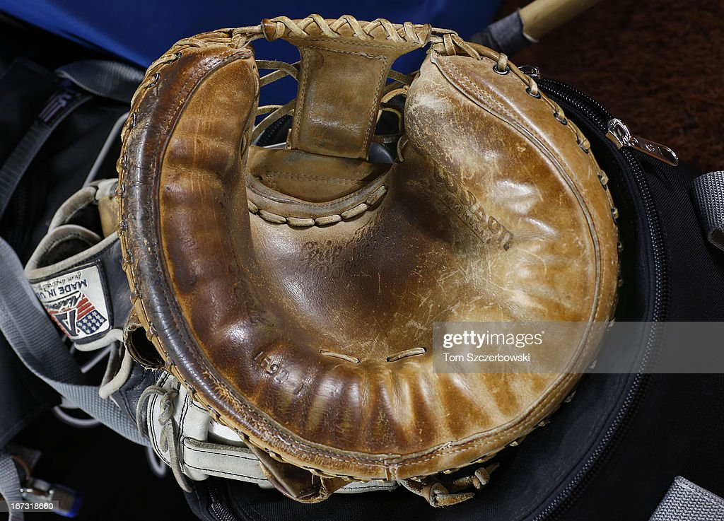 A catcher's glove is displayed before an MLB game against the Toronto Blue Jays on April 18, 2013 at Rogers Centre in Toronto, Ontario, Canada. The glove belonged to bullpen catcher Mark Salas #59 of the Chicago White Sox who used it during his playing career.