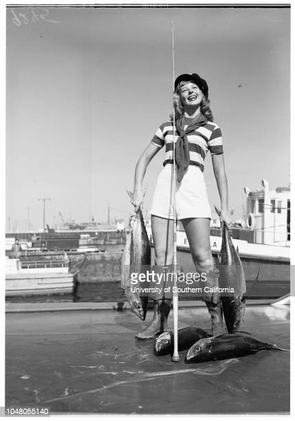 Catches albacore 12 August 1951 Esther Beckstead Supplementary material reads 'National Publicity Bureau Municipal Auditorium Long Beach California...