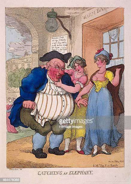 'Catching an elephant' 1812 Two prostitutes encourage a hugely obese man towards the door of the Royal Bagnio in Bagnio Court later known as Roman...