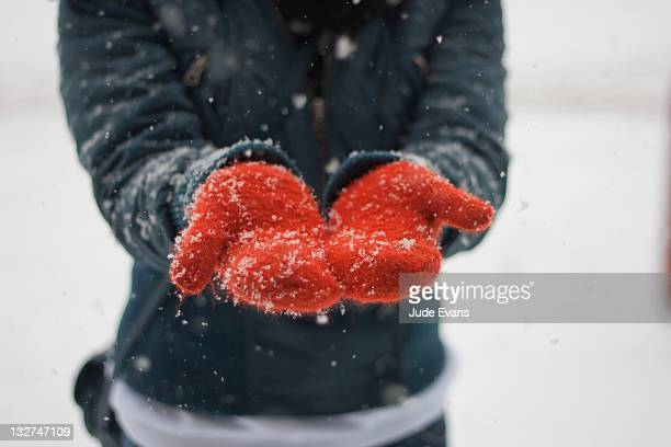catching snowflakes - glove stock pictures, royalty-free photos & images