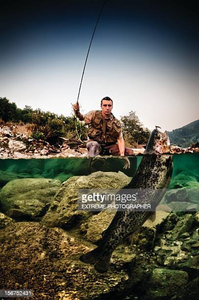 catching trout - trout stock pictures, royalty-free photos & images