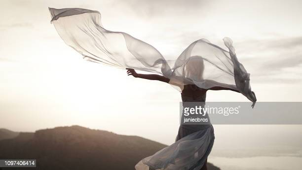 catching wind. woman in elegant gown posing in mountains - evening gown stock pictures, royalty-free photos & images