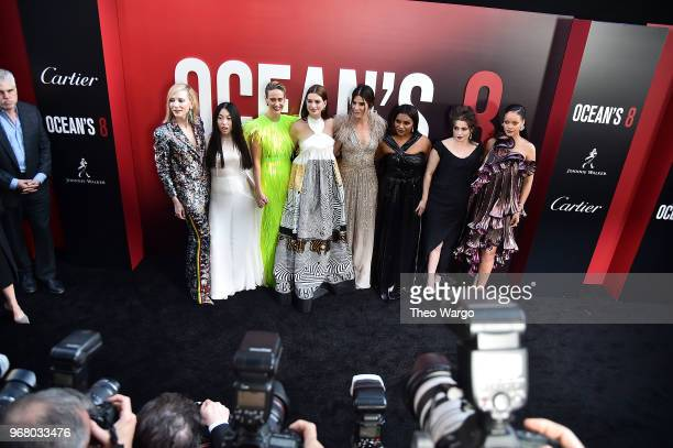 Cate Blancett Awkwafina Sarah Paulson Anne Hathaway Sandra Bullock Mindy Kaling Helena Bonham Carter and Rihanna attend the 'Ocean's 8' World...