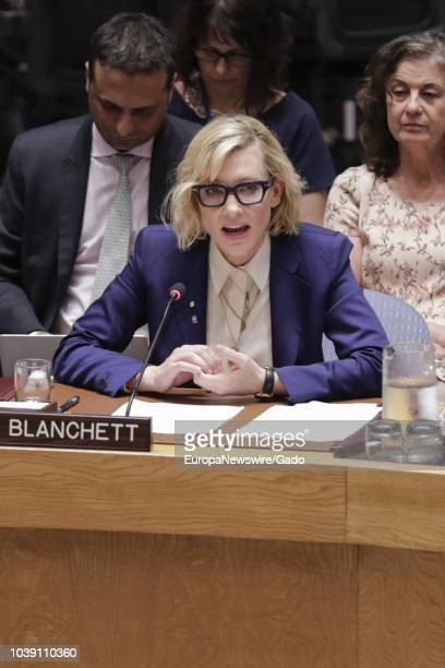 Cate Blanchett Academy award winning actor and Goodwill Ambassador for the United Nations High Commissioner for Refugees addresses the Security...