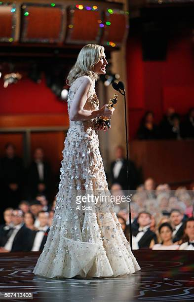 ELSEWHERE HOLLYWOOD CA March 2 2014 Cate Blanchett accepts her award for Best Actress shot from backstage at the 86th Annual Academy Awards on Sunday...