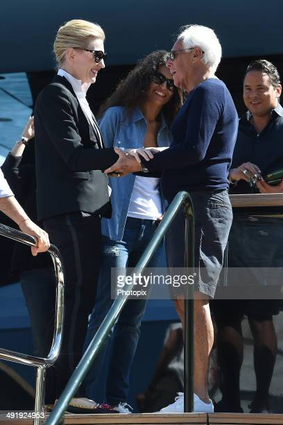 Cate Blanchett Afef Jnifen and Giorgio Armani are seen on May 18 2014 in Portofino Italy