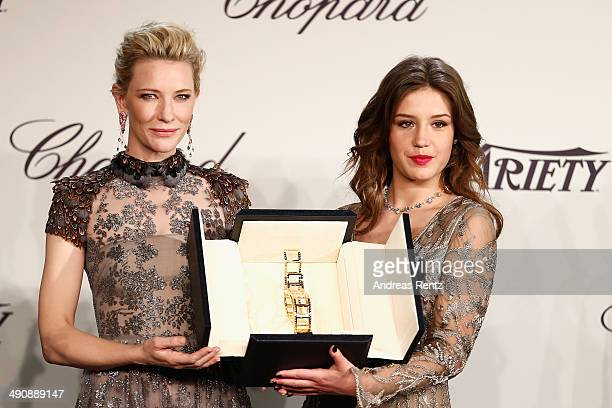 Cate Blanchett and Adele Exarchopoulos pose onstage at the Chopard Trophy during the 67th Annual Cannes Film Festival on May 15, 2014 in Cannes,...