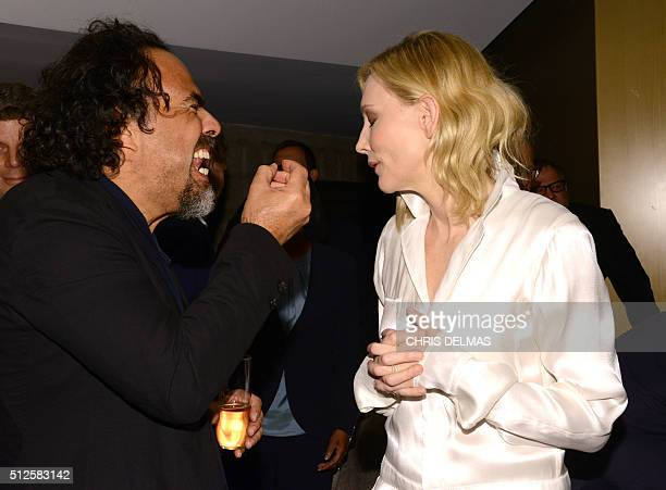 Cate Blanchett and Alejandro G Inarritu attend the 88th Annual Academy Awards Oscar Foreign Language reception in Beverly Hills California on...
