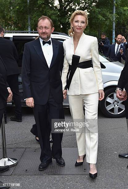 Cate Blanchett and Andrew Upton attend the Giorgio Armani 40th Anniversary Silos Opening And Cocktail Reception on April 30 2015 in Milan Italy