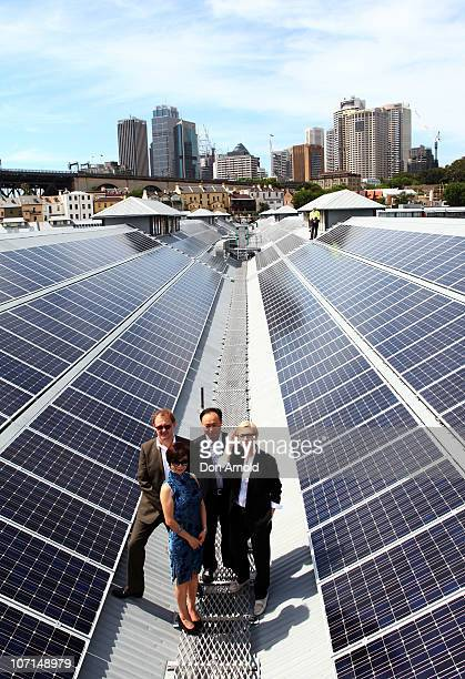 Cate Blanchett and Andrew Upton pose alongside other dignitaries at an event to celebrate the 'switchon' of the Sydney Theatre Company's rooftop...