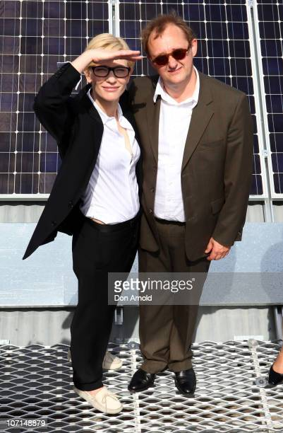 Cate Blanchett and Andrew Upton pose at an event to celebrate the 'switchon' of the Sydney Theatre Company's rooftop solar panels at Sydney Theatre...
