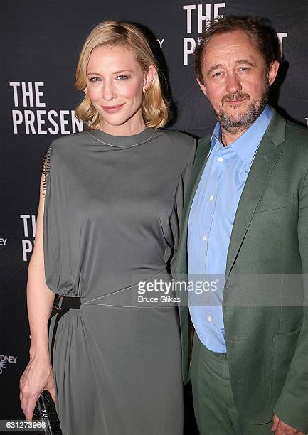 Cate Blanchett and Andrew Upton pose at the opening night party for her Broadway debut in 'The Present' at Bryant Park Grill at the Barrymore Theatre...