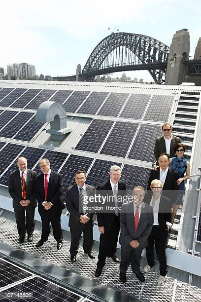 Cate Blanchett and Andrew Upton poses upon the rooftop of the Sydney Theatre Company at an event to celebrate the 'switchon' of the Sydney Theatre...