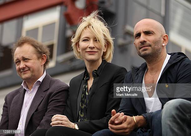 Cate Blanchett and Andrew Upton sit alongside Rafael Bonachela at the media launch of the Sydney Theatre Company's new rainwater harvesting system at...