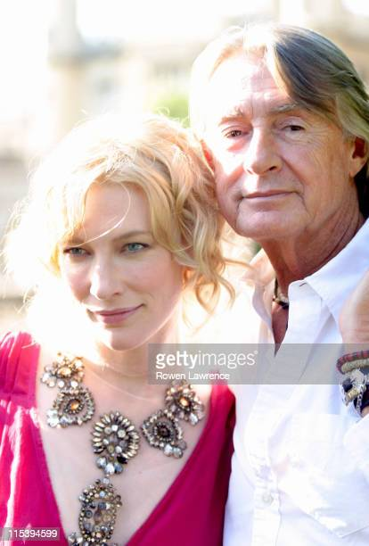 Cate Blanchett and director Joel Schumacher during Cate Blanchett Promotes Her Latest Movie Veronica Guerin in Cambridge Great Britain