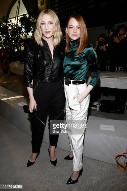 Cate Blanchett and Emma Stone attend the Louis Vuitton Cruise 2020 Fashion Show at JFK Airport on May 08, 2019 in New York City.