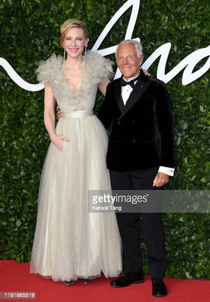 Cate Blanchett and Giorgio Armani attends The Fashion Awards 2019 at the Royal Albert Hall on December 02 2019 in London England