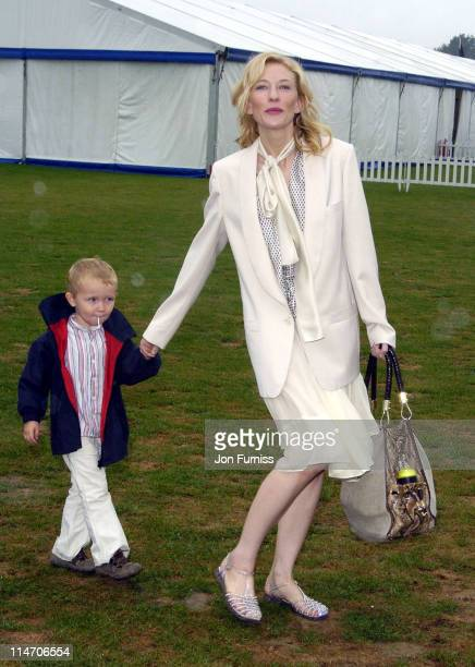 Cate Blanchett and her son Dashiell during Cartier Polo Day July 24 2005 at Smiths lawn in Windsor Great Britain