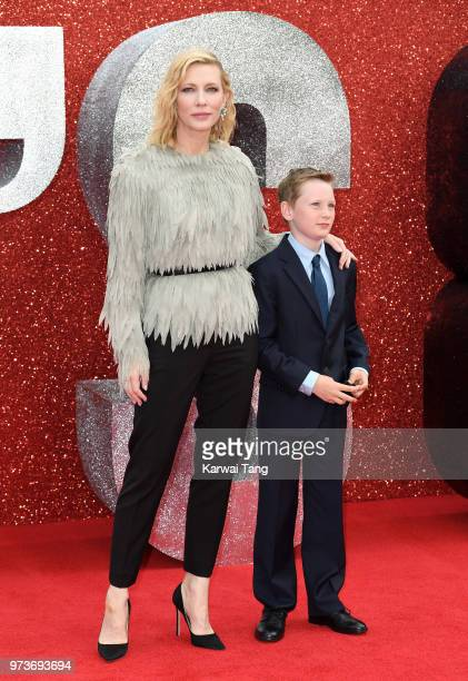 Cate Blanchett and her son Ignatius attend the European Premiere of 'Ocean's 8' at Cineworld Leicester Square on June 13 2018 in London England