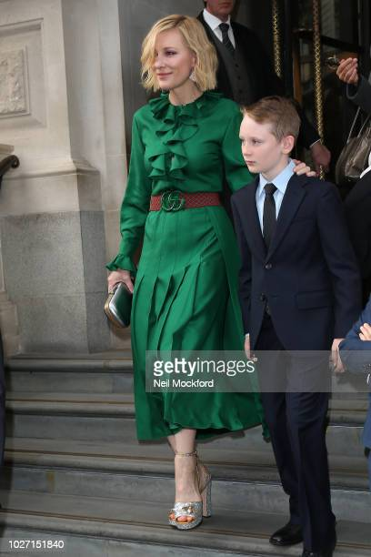 Cate Blanchett and her son seen leaving her hotel ahead of the The House with a Clock in Its Walls film premiere on September 5, 2018 in London,...