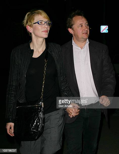 Cate Blanchett and husband Andrew Upton arrive at the opening night of 'Quack' at the Stables Theatre on September 1 2010 in Sydney Australia