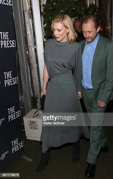 Cate Blanchett and husband Andrew Upton attend the Broadway Opening Night After Party for 'The Present' at the Bryant Park Grill on January 8 2017 in...