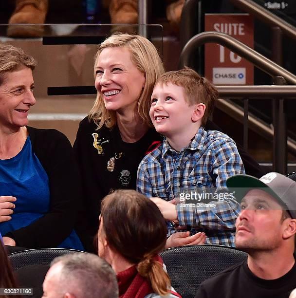 Cate Blanchett and Ignatius Upton attend Orlando Magic vs. New York Knicks game at Madison Square Garden on January 2, 2017 in New York City.
