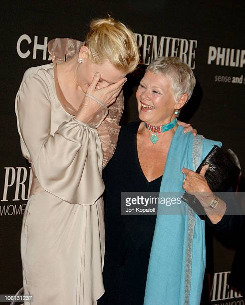 Cate Blanchett and Judi Dench during 13th Annual Premiere Women In Hollywood at Beverly Hills Hotel Bungalows in Beverly Hills California United...