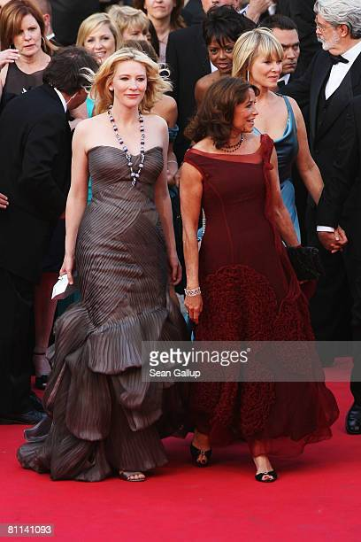 Cate Blanchett and Karen Allen arrive at the Indiana Jones and The Kingdom of The Crystal Skull Premiere at the Palais des Festivals during the 61st...
