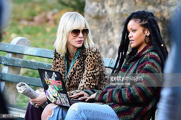 Cate Blanchett and Rihanna are seen filming 'Ocean's 8' in Central Park on November 7 2016 in New York City