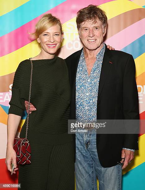 Cate Blanchett and Robert Redford attend the opening night of Cyrano de Bergerac directed by Andrew Upton at Sydney Theatre Company on November 15...