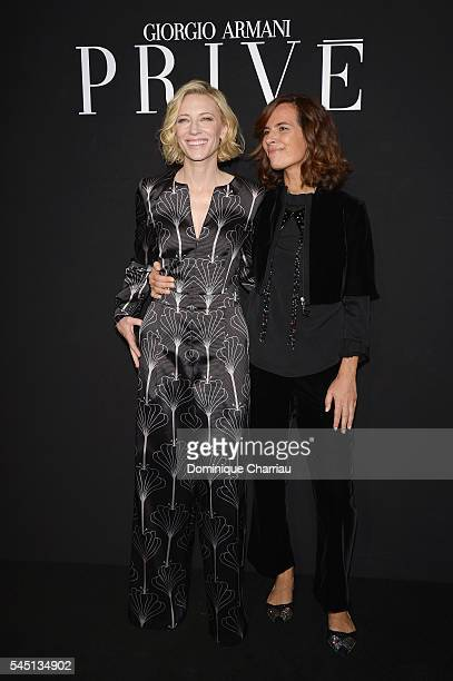 Cate Blanchett and Roberta Armani attend the Giorgio Armani Prive Haute Couture Fall/Winter 20162017 show as part of Paris Fashion Week on July 5...