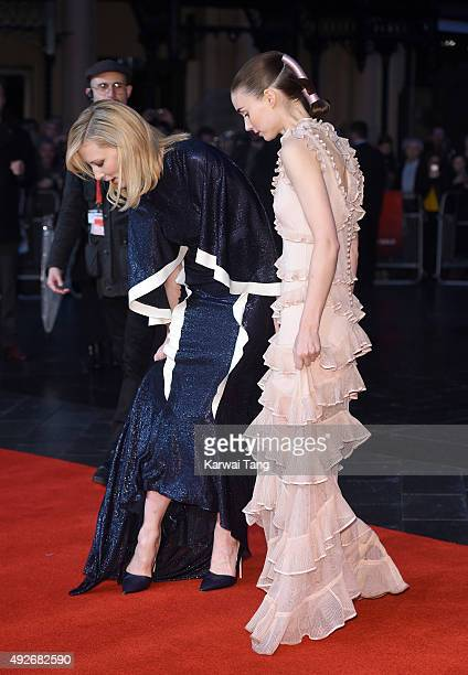 Cate Blanchett and Rooney Mara attend a screening of 'Carol' during the BFI London Film Festival at Odeon Leicester Square on October 14 2015 in...