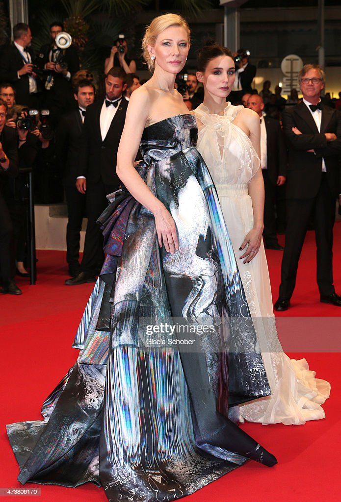 Cate Blanchett and Rooney Mara seen departing after the premiere of 'Carol' during the 68th annual Cannes Film Festival on May 17, 2015 in Cannes, France.